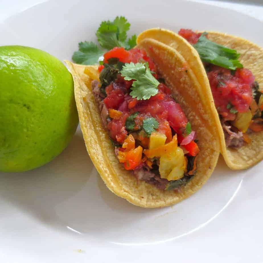 Salsa on Veggie Tacos