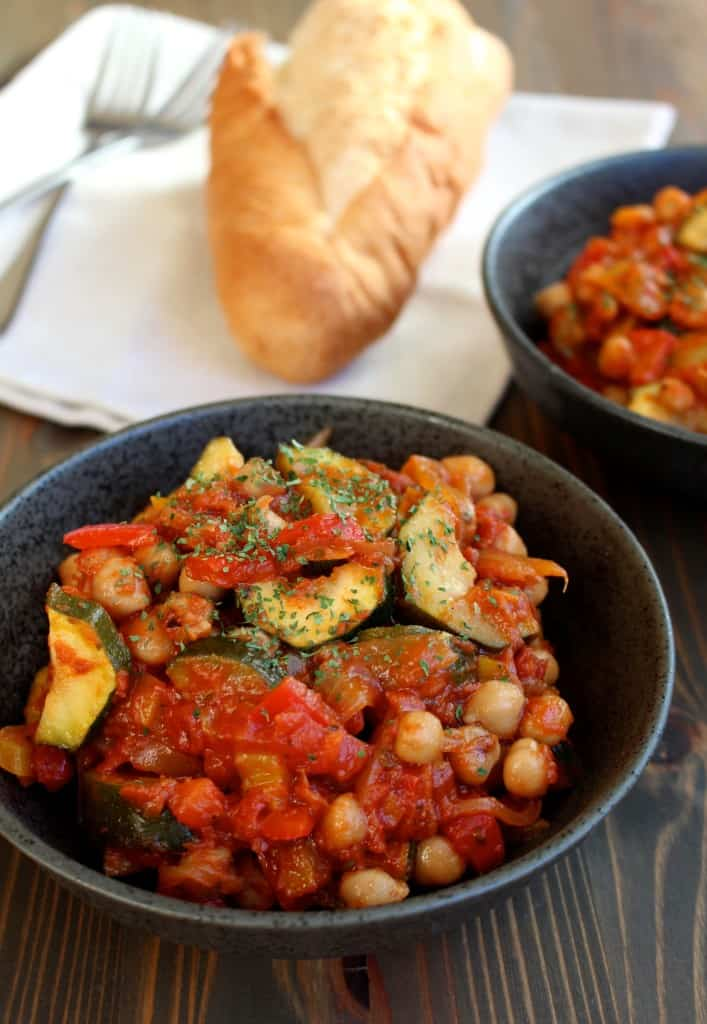 Roasted Chickpea Ratatouille #vegan | Frugal Nutrition