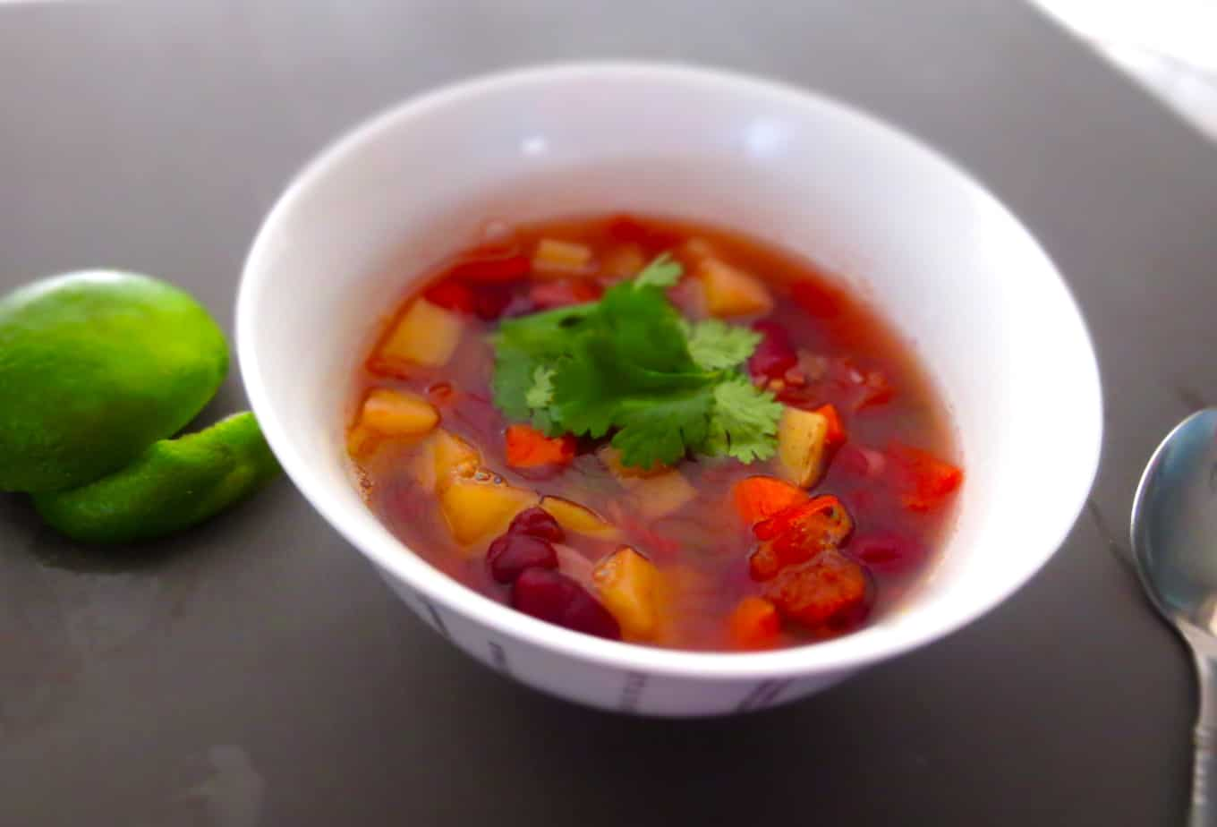 Sprouted Kidney Bean Lime Soup
