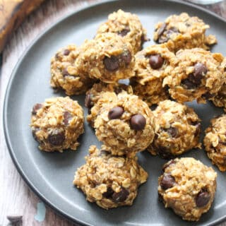 Plate of chocolate chip oat cookies