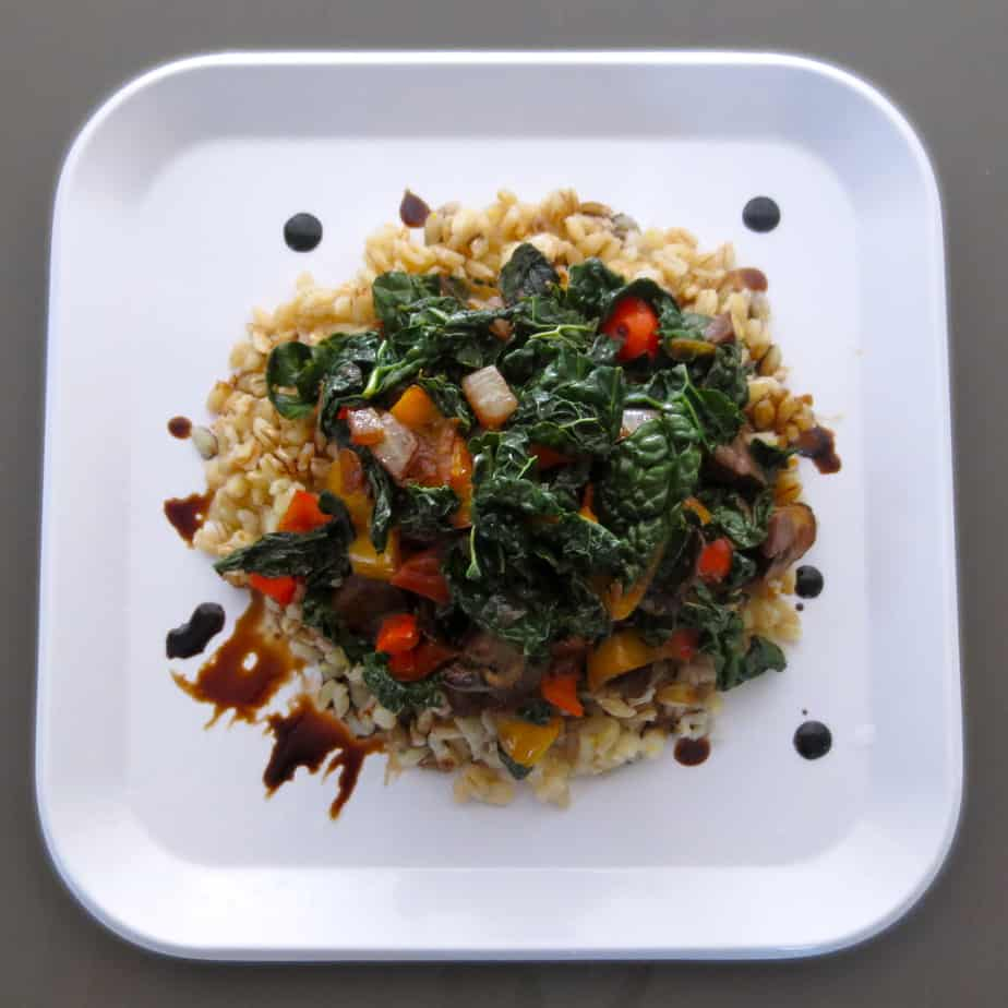 Warm Vegetarian Kale Barley Salad