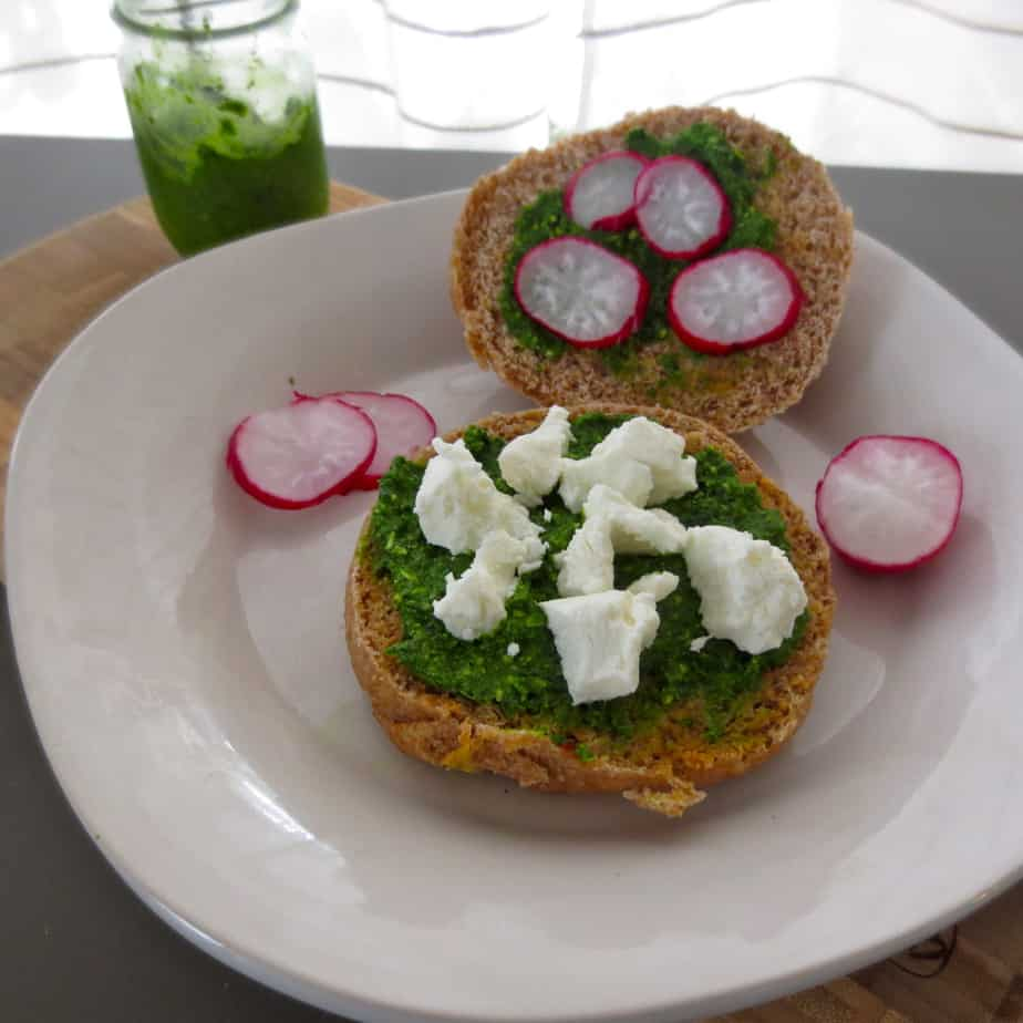 Kale Pesto Goat Cheese Radish Sandwich