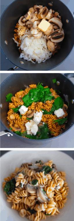 Mushroom Goat Cheese Pasta Dish
