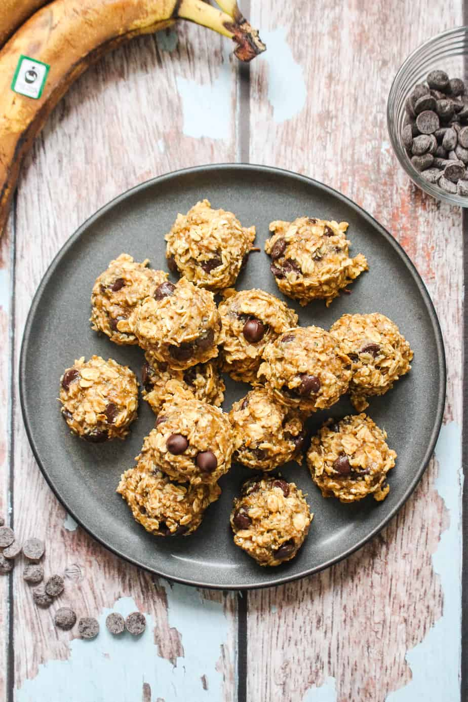 plate of chocolate oat cookies
