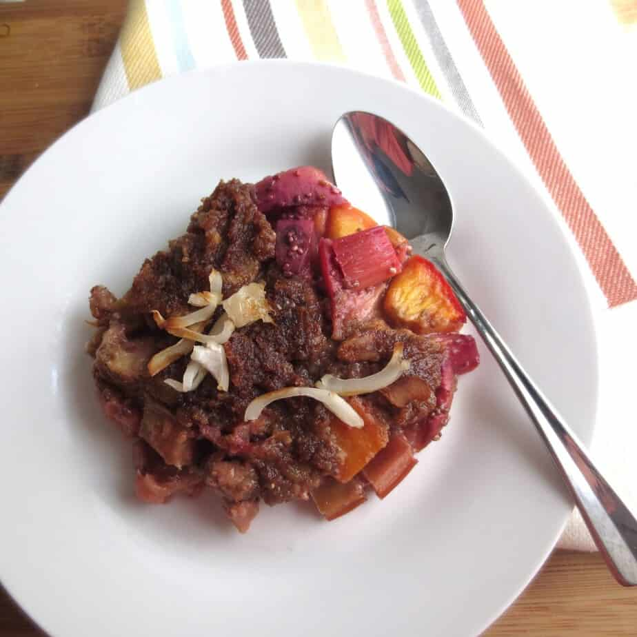 Rhubarb, Peach, Nectarine Cobbler with Date Streusel (Paleo)