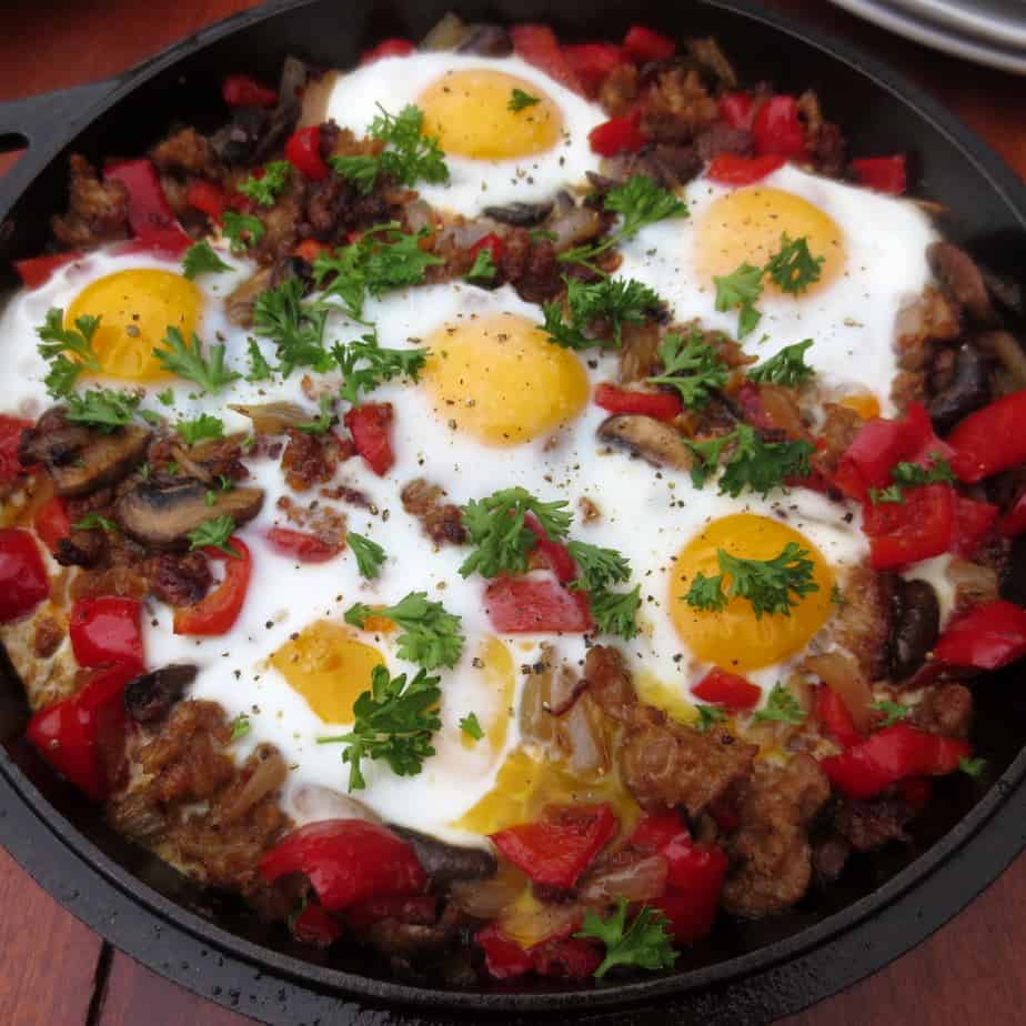(Paleo) Sausage-Pepper Skillet With Nest Fresh Eggs