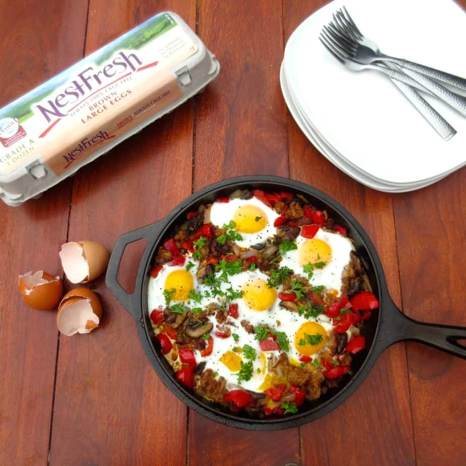 Paleo Sausage Egg Skillet with Peppers by Frugal Nutrition