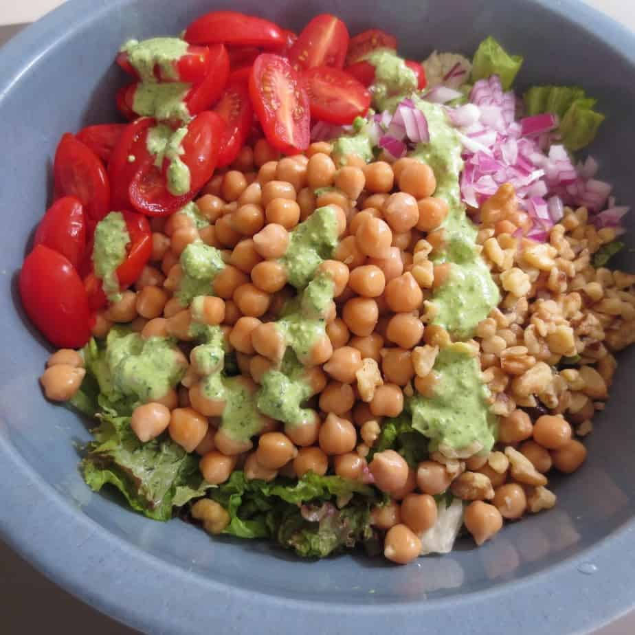 Chickpea Salad with Creamy Basil Dressing