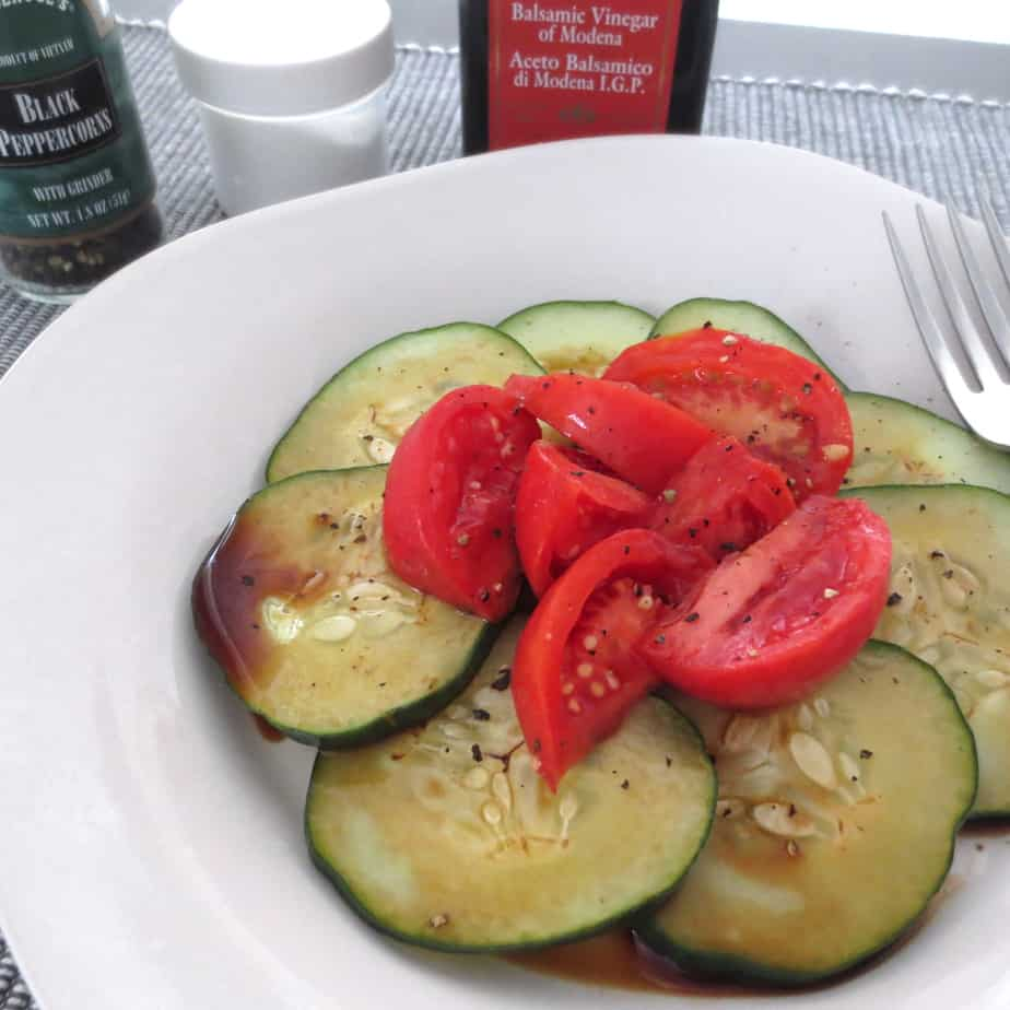 Cucumber Tomato Salad With Balsamic and Olive Oil