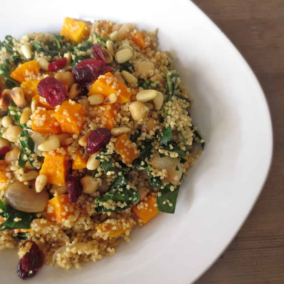 Whole Wheat Couscous with Squash, Swiss Chard, Cranberries, and Nuts