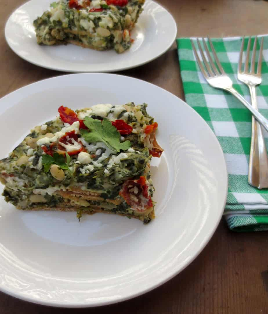 Sun Dried Tomato, Kale, Spinach, White Bean Lasagna with Homemade Noodles