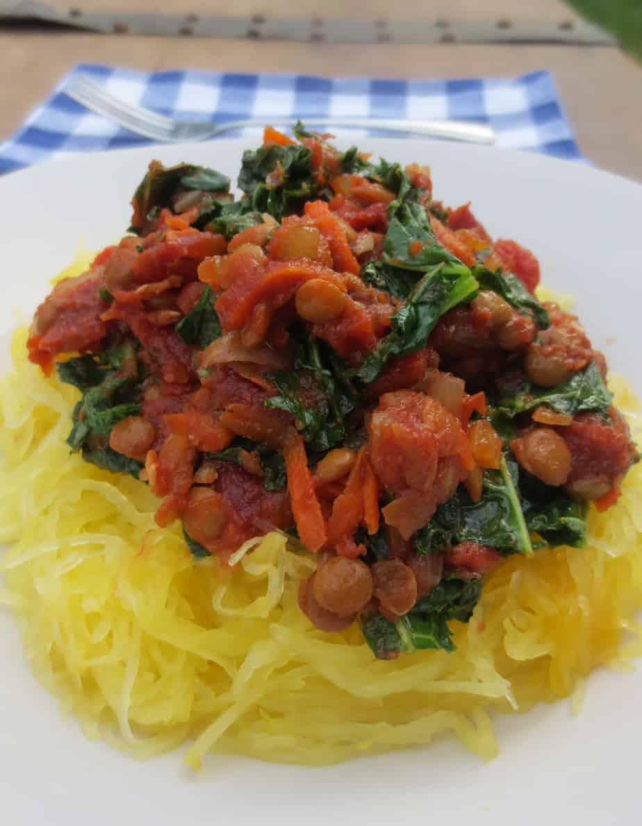 Chunky Lentil Bolognese Over Spaghetti Squash