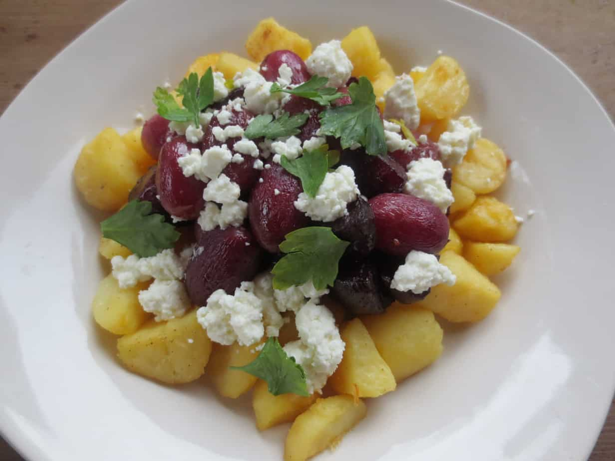 Roasted Grapes with Beets, Potatoes, and Goat Cheese