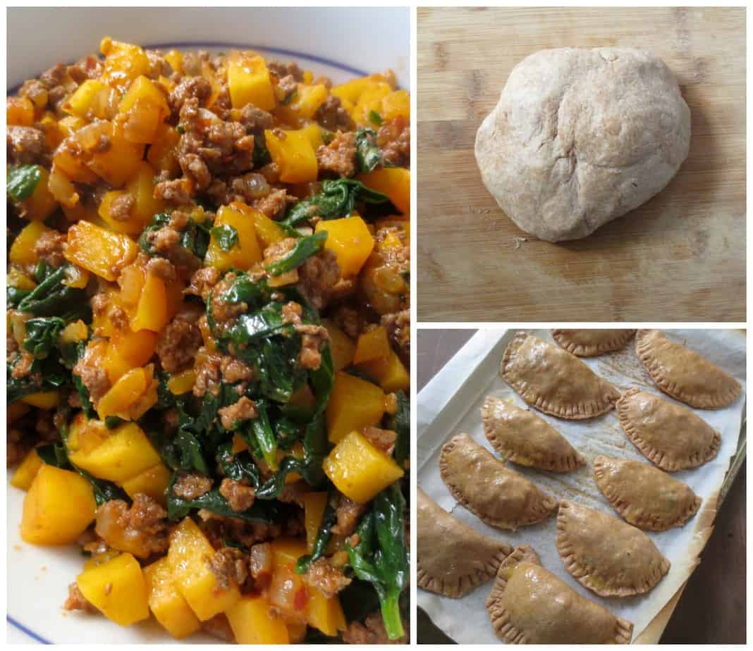 Whole Wheat Empanadas with Beef, Butternut Squash, and Kale or Spinach