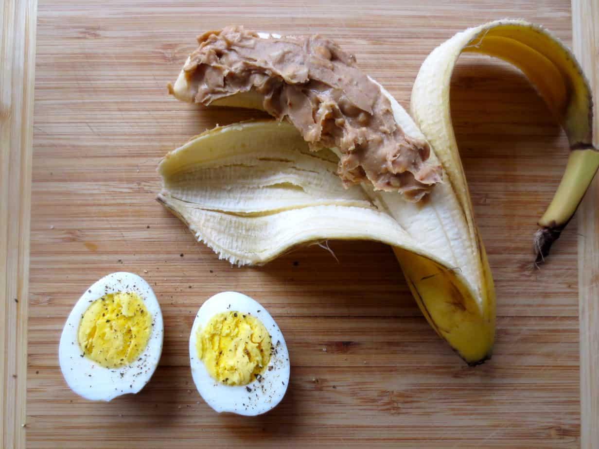Easy Breakfast: Peanut Butter Banana + Hard-Boiled Egg