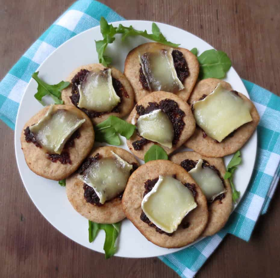 Party Snacks - Dried Fig & Brie Bites on Whole Wheat Pizza Dough