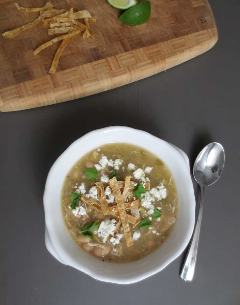 Slow Cooker Salsa Verde Soup - Jalapeños, Chicken, White Beans - Simple, easy, delicious, #frugalnutrition #slowcooker