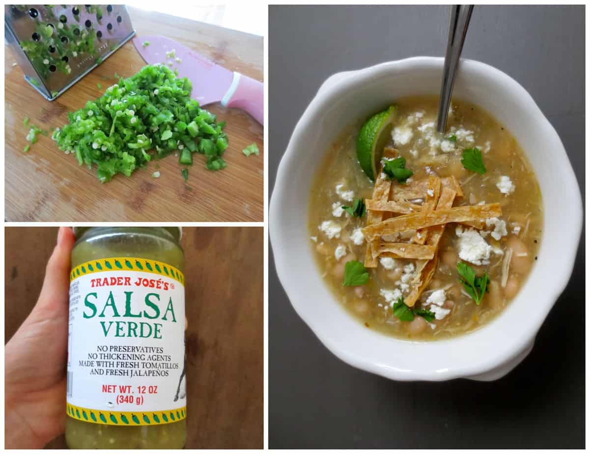 Jalapeño Salsa Verde Slow Cooker Soup with chicken and white beans