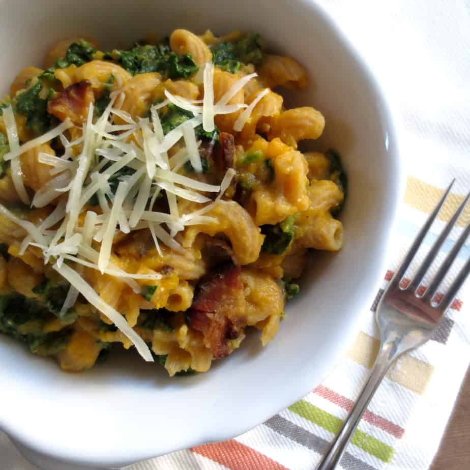 Creamy Butternut, Bacon, Kale, and Parmesan Pasta