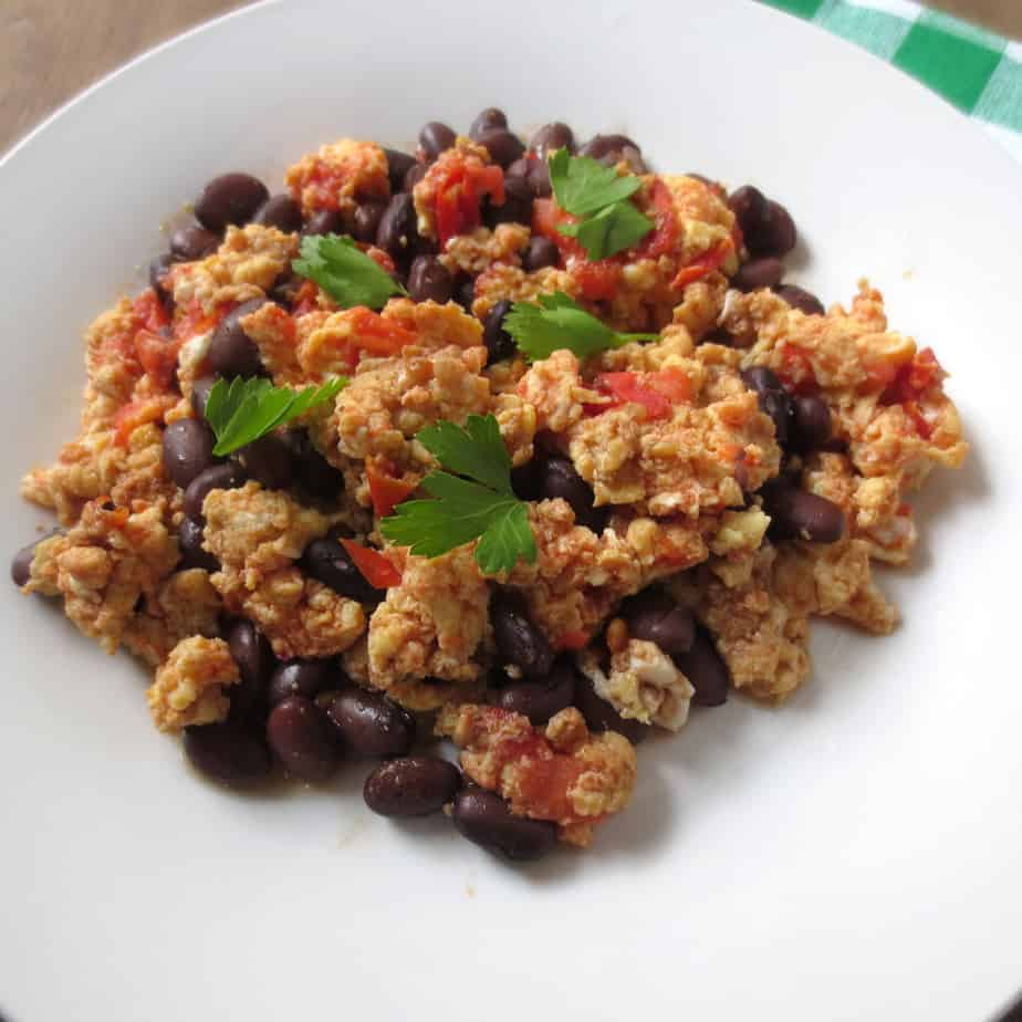 Easy Tomato Egg Black Bean Scramble
