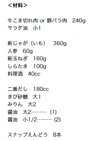Japanese Meat and Potato Stew Ingredients