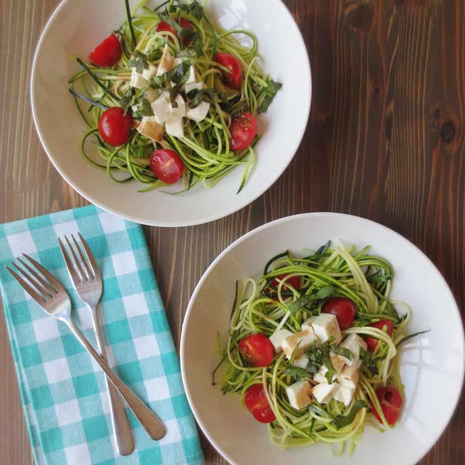 Easy Zucchini Noodle Caprese Salad
