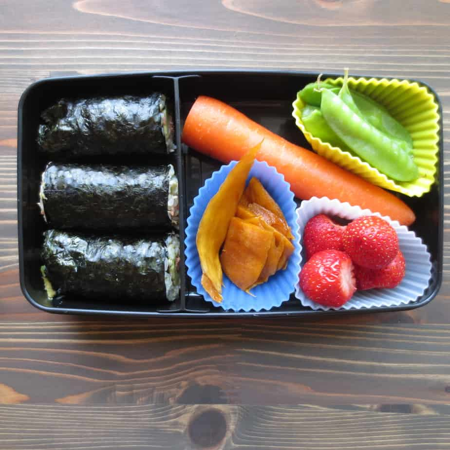 Salmon Avocado Nori Rolls Bento Box