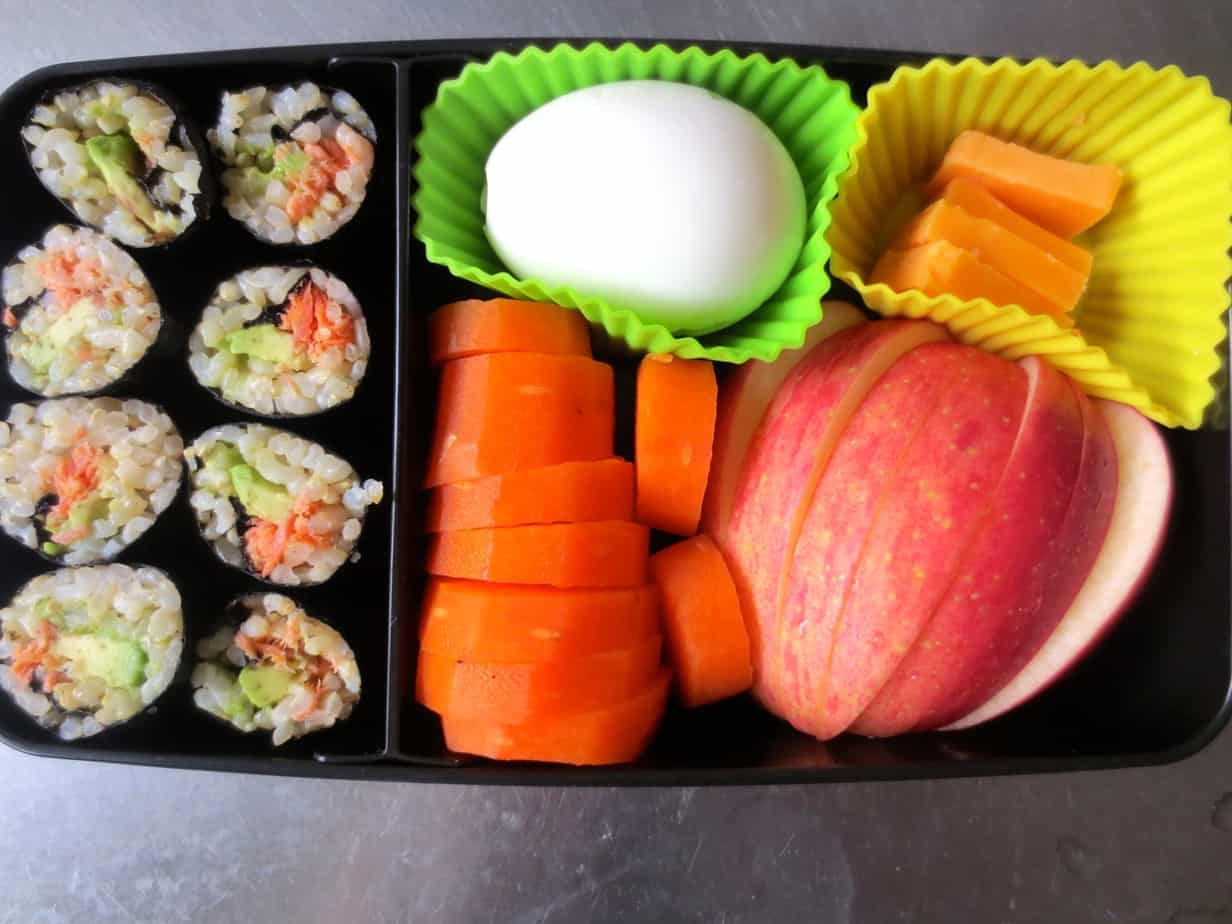 Easy Bento Box - Avocado Salmon Nori Rolls