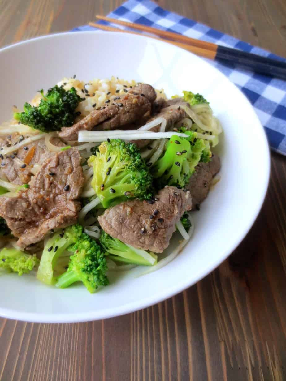 Easy Weeknight Korean Beef and Broccoli with or without Rice - under $2 per serving.