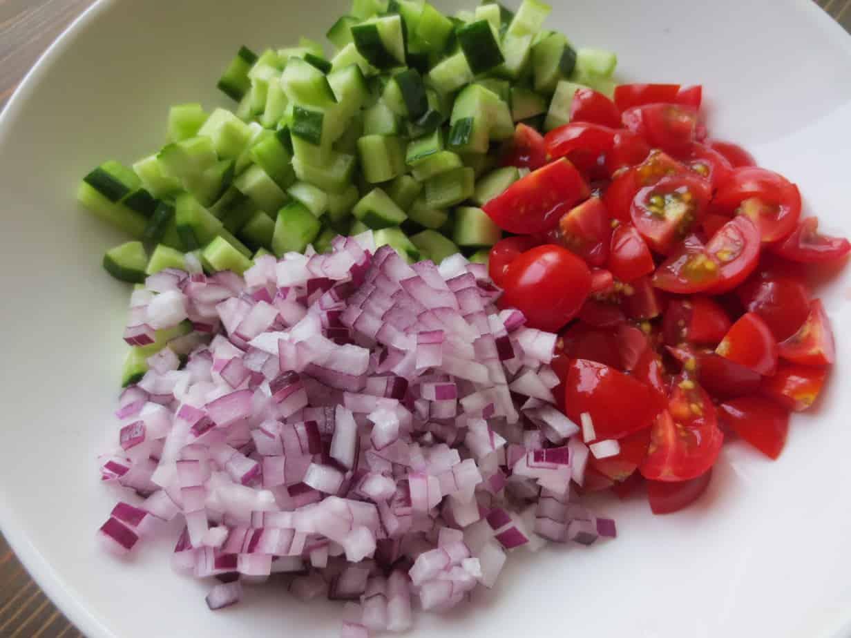 Raita Recipe with Tomatoes, Cucumbers, Red Onion