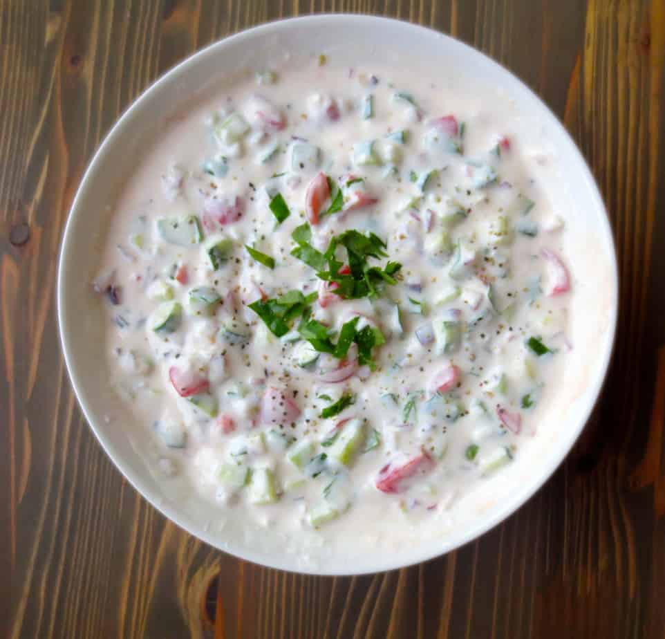Raita - yogurt & cucumber sauce by #goodandcheap and #frugalnutrition