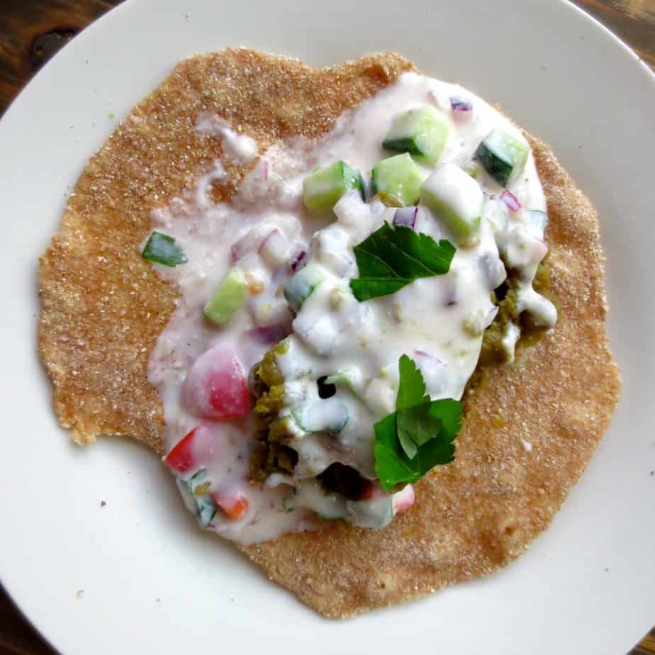 #GoodandCheap Indian Dal Lunch Wraps with Whole Wheat Roti and Raita Sauce