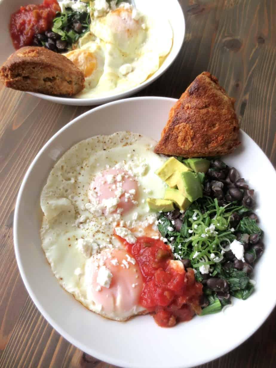 Breakfast Bowl: Eggs, Spinach, Black Beans, Salsa, Avocado, and Jalapeño Cheddar Scones