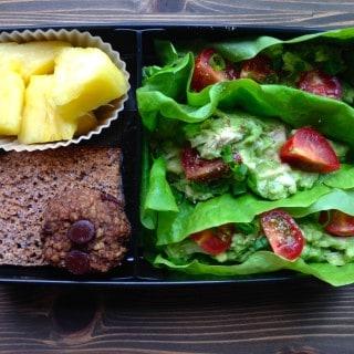 Real Food Bento Box: Chicken Avocado Lettuce Wraps