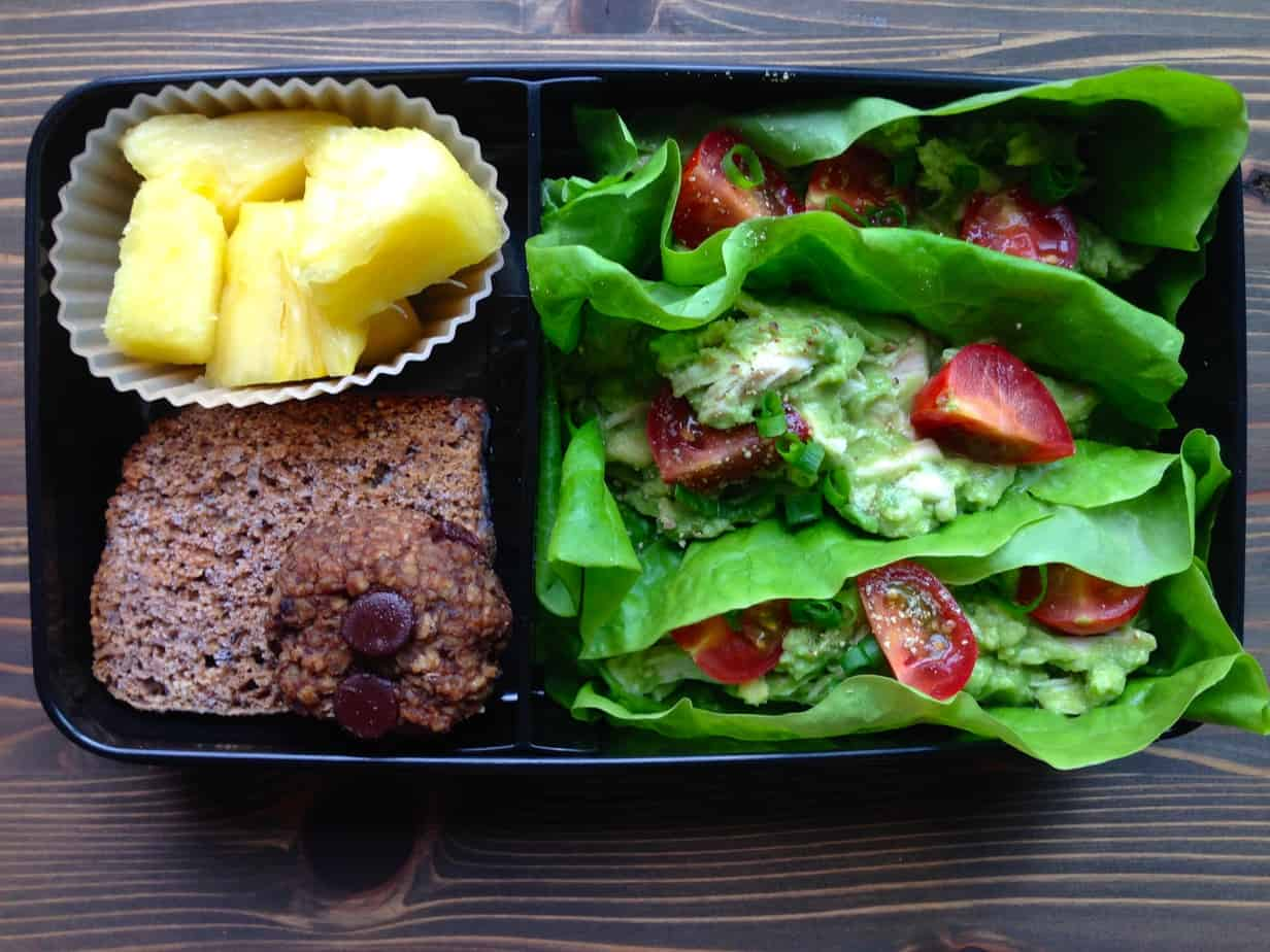 Real Food Bento Box: Chicken Avocado Lettuce Wraps