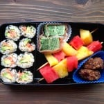 Real Food Bento Box: Salmon-Avocado Rolls, Prosciutto-Wrapped Frittata, Fruit Kebabs