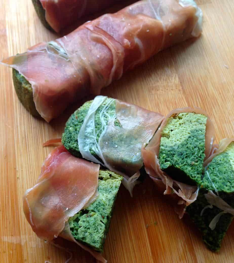 Spinach-Onion Frittata Wrapped in Prosciutto or Jamon Serrano