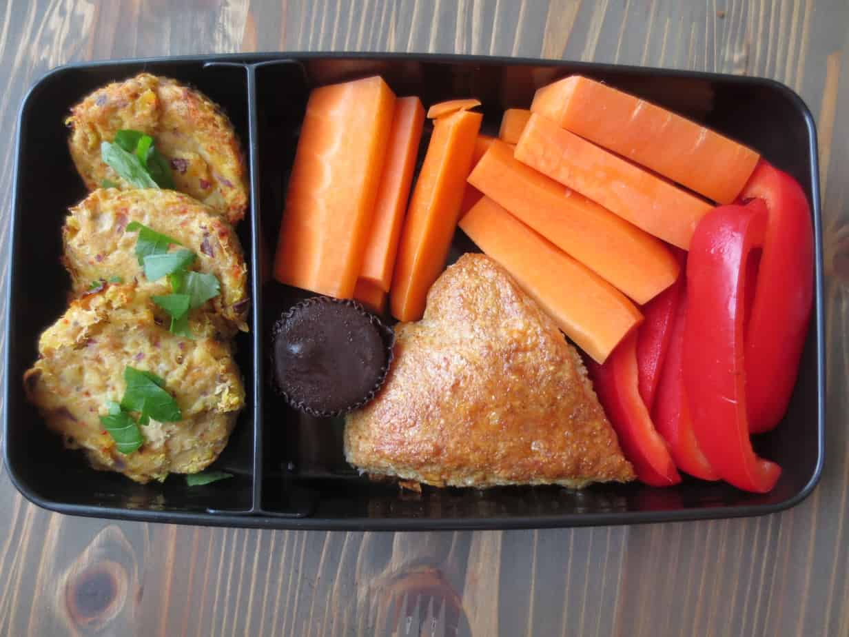 Spicy Tuna Cakes, Jalapeño Cheddar Scones, Dark Chocolate PB Cup, Bell Peppers, and Carrots Bento Box