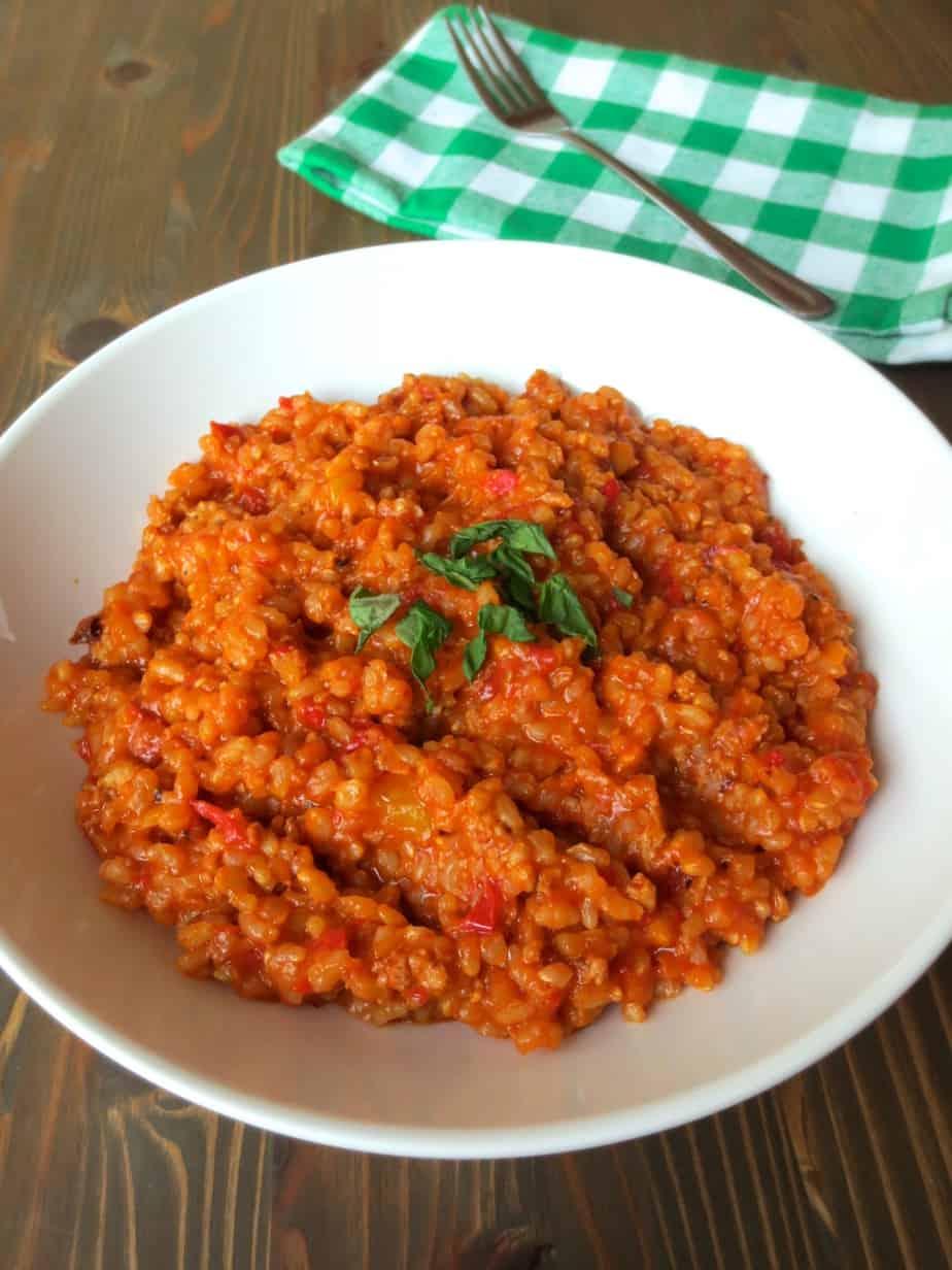 Easy Jambalaya made with Homemade Sausage and Brown Rice