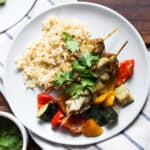 Plate of chicken, vegetables, and rice