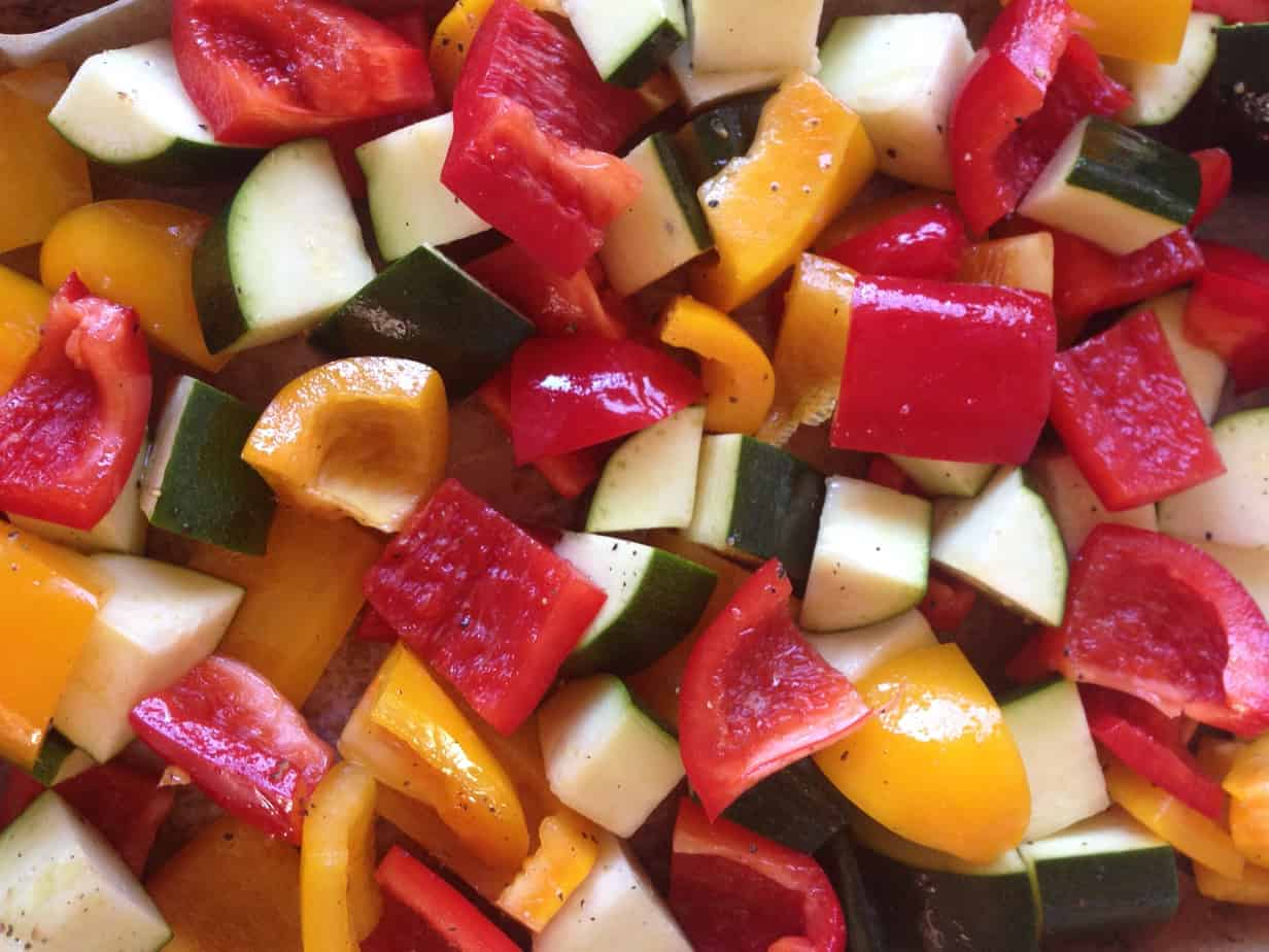 Veggies for Roasting - Bell Peppers and Zucchini