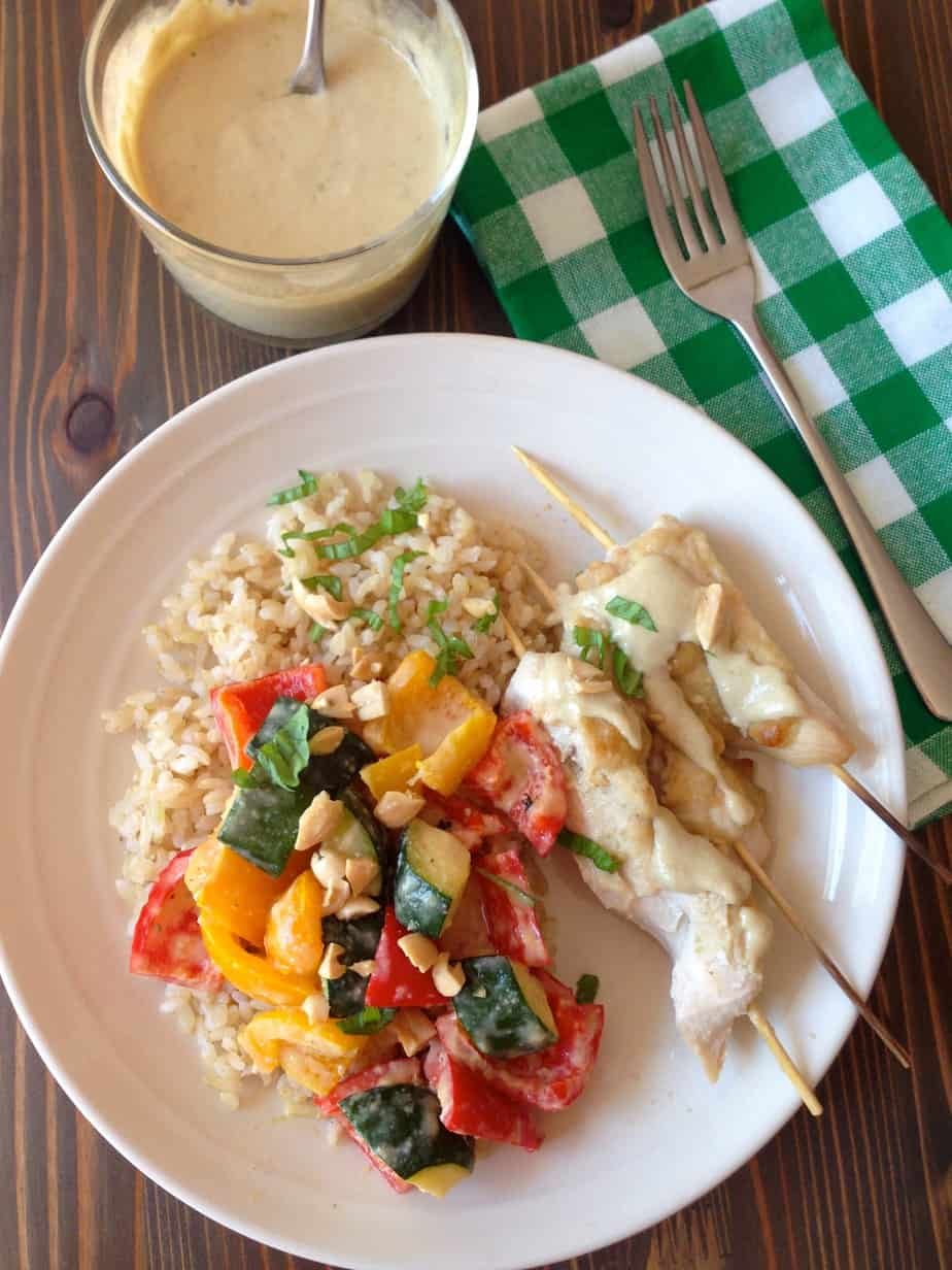 Coconut Chicken Satay with Roasted Veggies and Rice