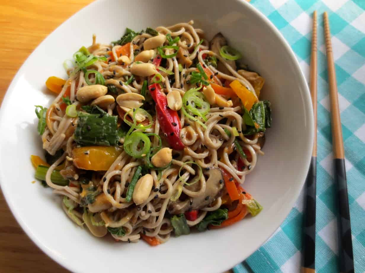 Delicious Peanut Sauce with Soba Noodles and Vegetables