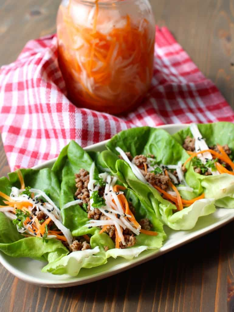 Miso Lettuce Wraps with Quick Pickled Veggies | Frugal Nutrition
