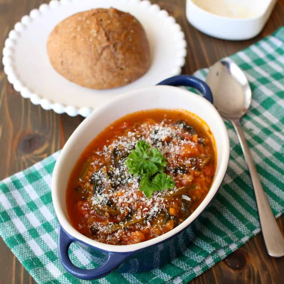 Italian Sausage Spinach Soup with Parmesan