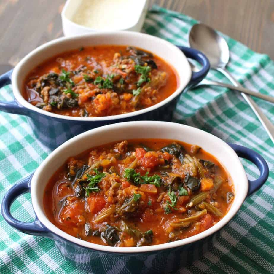 Flavorful Italian Sausage Soup with Spinach and Parmesan