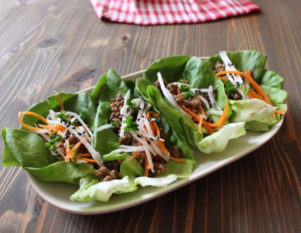 Miso Ginger Lettuce Wraps with Quick-Pickled Vegetables | Frugal Nutrition