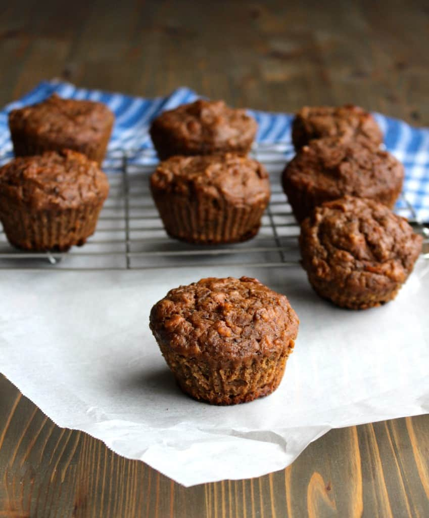 Carrot Cake Banana Muffins made with Whole Wheat Flour - no added sugar! | Frugal Nutrition