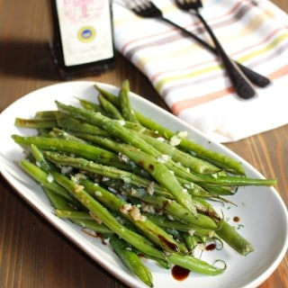 Green beans roasted with garlic, olive oil, and balsamic vinegar by Frugal Nutrition