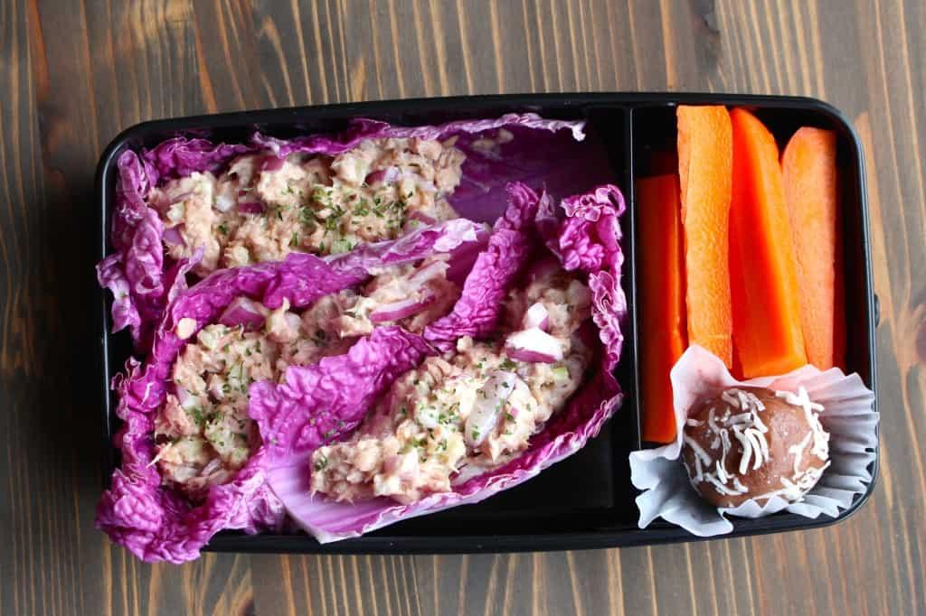 No Mayo Tuna Fish Cabbage Wraps Bento Box | Frugal Nutrition